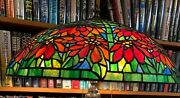 Antique Studios Reproduction Double Poinsettia Leaded Glass Shade