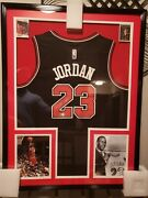 Michael Jordan Hand Signed Framed Jersey W/coa And Two Hand Signed Mj Cards