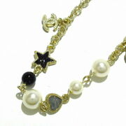 Necklace Moon Star Pearl Gold Black Metal Material Previously No.7938