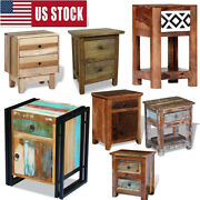 Solid Reclaimed Wood Nightstand 1/ 2 Drawers Bedside Table Cabinet Telephone Us