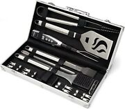 Stainless Steel Deluxe Grill Set Outdoor Grilling Barbecue Tool Accessories Kit