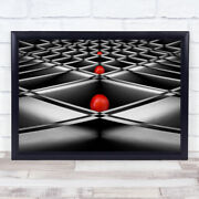 Lined Up Paper Abstract Balls Red Lines Boxes Macro Ball Wall Art Print