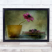 A Day To Stay At Home Still Life Flower Plant Pot Books Drops Wall Art Print