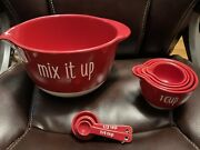 Tabletops 365 Ceramic Gallery Mixing Bowl Measuring Cups And Measuring Spoons
