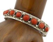 Navajo Bracelet .925 Silver Natural Red Coral Artist Native American C.1980and039s