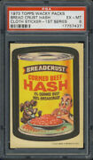 1973 Topps Wacky Packages Cloth Stickers Breadcrust Hash Psa 6