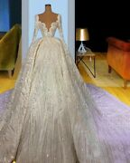 Sparkly Bridal Gowns Wedding Dresses Long Train Full Sleeves Beading Chiffon New