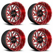 Set 4 24 Fuel D691 Triton Candy Red Milled Wheels 24x12 8x170 -44mm For Ford