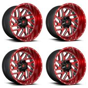 Set 4 24 Fuel D691 Triton Candy Red Milled Wheels 24x12 8x180 -44mm Truck Rims