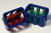 Playmobil Supermarket Grocery Store -blue Crates With Red And Orange Bottles