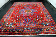 8x11 1940and039s Masterpiece Mint Antique Hand Knotted Herizz Geometric Wool Rug