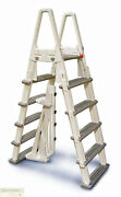 Pool Ladder W/safety Barrier Confer A-frame Above Ground Fits 48 54 Con7000b