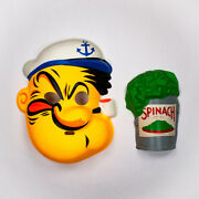 Vintage Popeye The Sailor Man Collegeville Halloween Mask Spinach Can Olive Oyl