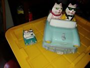 Clay Art Ceramic Cruising Cats Cookie Jar With Salt And Pepper Shakers.