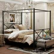Metal Canopy Bed Frame Platform Beds X Shaped Frame, Twin Queen Full Size Black
