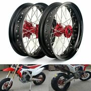 2002-12 Crf450r 17and039and039 Supermoto Wheel Set For Honda Cr125r Cr250r Crf250r Crf250x