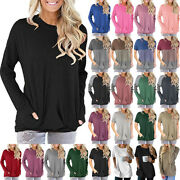 Women Tops Round Neck Short/long Sleeves Pockets Casual Pullover Blouse T-shirt