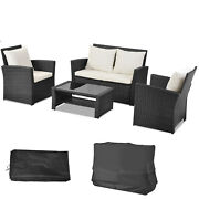 Rattan Garden Furniture Set Conservatory Outdoor Patio Table Chairs Sofa + Cover
