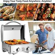 Tabletop Stainless Steel 2-burner Gas Grill Portable 20000 Btu Bbq Grid Foldable
