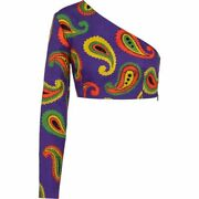 Womenand039s Tops Paisley Cotton And Linen Top Violet Green Mc No.1340
