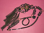Ornate Miriam Haskell 1950and039s Vintage Hematite Bead Fringed Necklace