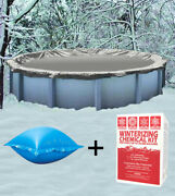 28' Round Above Ground Winter Pool Cover + 4'x4' Air Pillow + Winterizing Kit