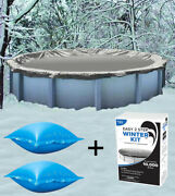 24' Round Above Ground Winter Pool Cover + 4'x4' Air Pillows + Winterizing Kit