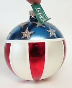 Vintage Glass Christmas Tree Ornament Midwest Patriotic Red White Blue Ball Flag