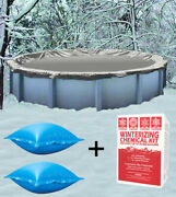 33' Round Above Ground Winter Pool Cover + 4'x4' Air Pillows + Winterizing Kit
