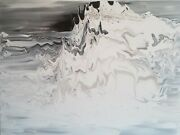 Mountain Original Modern Art Abstract Black And White Acrylic Painting