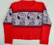 Vintage 1980's Snoopy Peanuts Kids/childrens Small Red Knit Graphic Sweater