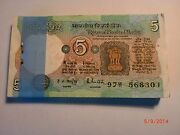 India Paper Money- Full Pack-rs.5/- Old Notes-rare- R.n.malhotra1985-90 - C-25