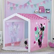 Disney Minnie Mouse Wood Indoor Playhouse With Fabric Tent For Boys And Girls...