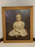 Antique American Folk Art Oil Portrait Painting Of Child In White Dress C.1800andrsquos