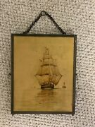 Antique Trifold Hanging Shaving Mirror With Ship Motif Panel
