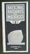 1965 Summer Fall National Railways Of Mexico Railroad Timetables Map Brochure