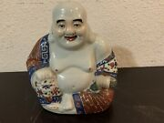 Antique Chinese Porcelain Laughing Buddha Familie Rose Hand Painted With Mark.