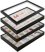 Mebbay Stackable Velvet Jewelry Trays Organizer Set With Clear Lid Jewelry