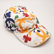Baseball Cap Clover Pattern White Size M Cotton Womenand039s Used 329/me