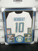 Justin Herbert Authentic Autograph Framed Jersey Coa Nfl Chargers White