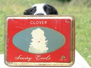 Unusual Vintage Clover Sewing Tools Tin C1930s