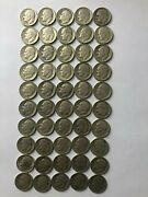Roll Of 50 Circulated 1947 D 90 Silver Roosevelt Dimes 5 Value
