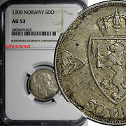 Norway Haakon Vii Silver 1909 50 Ore Ngc Au53 1st Year Type Better Date Km 374