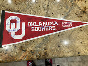 6 Heisman Peterson Riley Stoops Switzer More Signed Pennant Oklahoma Sooners Ou