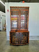 Vintage Chinoiserie Japanned Bamboo China Cabinet