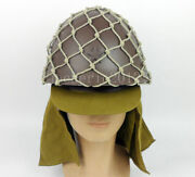 Wwii Japanese Army Helmet With Net Cover Camouflage And Cap Hat Military Ww2