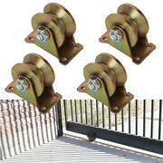4 X 2and039and039 V-groove Wheel Sliding Gate Roller With Bracket Track Rail Steel Wheel