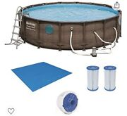 Bestway 16ft X 48in Power Steel Round Frame Above Ground Pool Set And Pump New