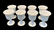 8 Indiana Colony Milk Glass White Harvest Grape Tea Water Footed Goblets Tumbler