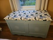 Antique Painted Blanket Chest With Padded Fabric Lid, New Hinges And Support Arm